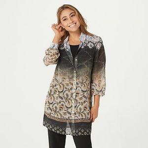 Susan graver chiffon shirt with tank black/natural
